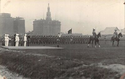 China Shanghai Race Course Trooping The Colour June 1927 Soldiers Parade Rp Card