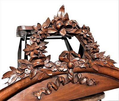 Architectural bow garland flower pediment Antique french wooden salvaged carving