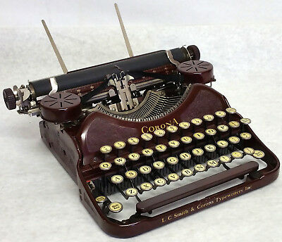 Antique 1929 LC Smith Corona #4 Red Working Portable Typewriter & Case, R6P09524