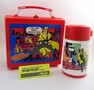 Vintage Disney Dick Tracy Lunch Box and Thermos Aladdin Set Detective Toy