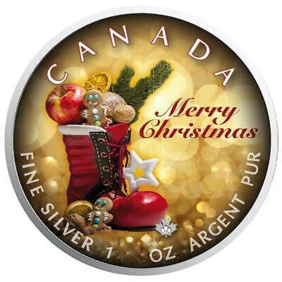 1 Oz Silber Maple Leaf Farbe 2018 Weihnachten (03) Merry Christmas Special Editi