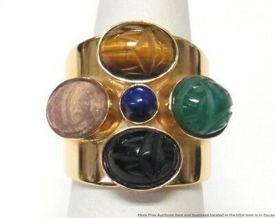 14k Gold Egyptian Scarab Ring Gemstone 22.8gr Vintage Wide Cigar Band Sz 7.25