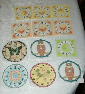 Mixed Collection Of Paper/Card Clock Faces
