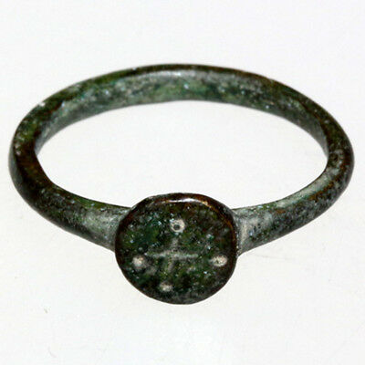 Byzantine Bronze Ring- Engraved Cross In Bezel Circa 700-1000 Ad