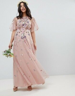 ASOS DESIGN Size 6 Maternity floral embroidered dobby flutter sleeve maxi dress