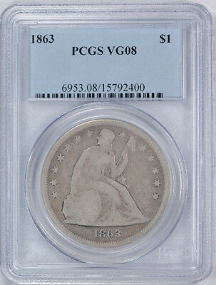 1863 $1 Liberty Seated Dollar PCGS VG 8 Very Good Civil War Date