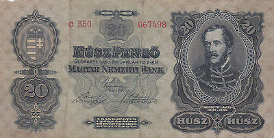20 Pengo From Hungary 1930 Fine Banknote!pick-97!rarer Type