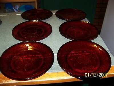 "Luminarc Arcoroc France Ruby Red 8"" SALAD PLATES   SET OF 10"