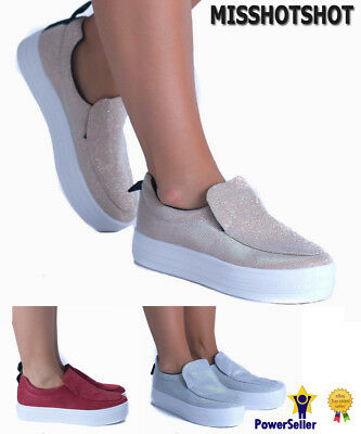 Women's Ladies Flat Platform Trainers Pumps Wedge Flatforms Slip On Skater Shoes
