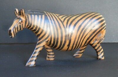"""Hand Carved Wooden Zebra-8 1/4"""" Long-4 1/2"""" Tall (N6)"""