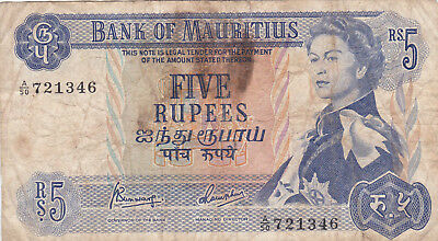 5 RUPEES VG BANKNOTE FROM MAURITIUS 1967!!PICK-30c