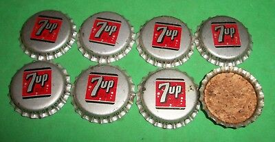(8) Unused NOS 1950/60s Era 7-UP Moorhead Minnesota Cork Lined Soda Btl Caps  A