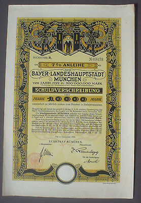 7% City of Munich 10000 Mark Bond 1923 uncancelled + coupon sheet