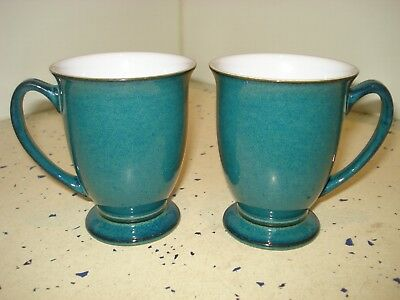 """Pair Of Signed Denby Stoneware Greenwich Pattern 4.25"""" Tall Curved Sided Mugs"""