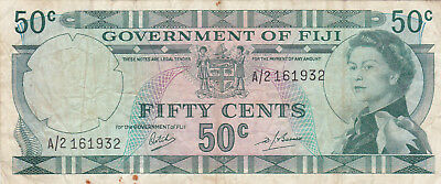 50 Cents Fine Banknote From British Colony Of Fiji 1968!pick-58