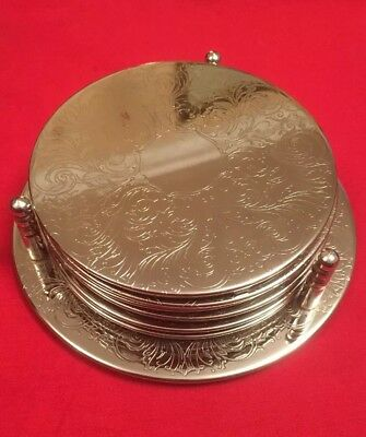 Set Of 6 Vintage Silver Plated Coasters With Stand c.1980's