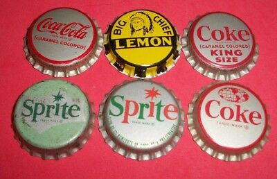 6 Diff Unused NOS Big Chef/Coke/Sprite 1 & 2/ Cork Soda Bottle Caps  COCA-COLA A