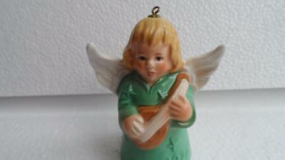 Goebel ANGEL Bell Ornament Green Angel With Lute 1977