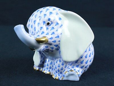 Herend of Hungary Baby Elephant Blue Fishnet Porcelain Figurine - 1st Edition