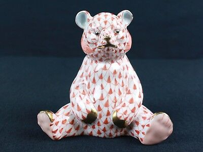 Herend of Hungary Baby BEAR Cub Sitting Rust Fishnet Porcelain Figurine 3.5""