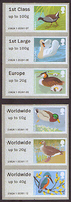 GB 2011 Birds of Britain III Post & Go u/m mnh stamps SG FS16-20 and 20a