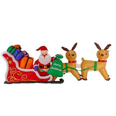 Christmas Masters 10ft Inflatable Santa Claus w/ Sleigh Reindeer Yard Decoration