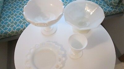 Vintage Lot of Milk Glass White Compote Bowl Plate ++ 6 Pieces