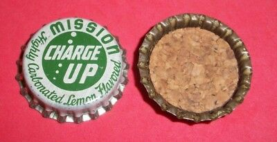 (1) Unused NOS Mission Charge Up Lemon Flavored Cork Lined Soda Bottle Cap  A