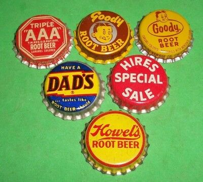 6 Diff Unused NOS Goody/Hires/Dads Root Beer Cork Lined Soda Bottle Caps  NICE A