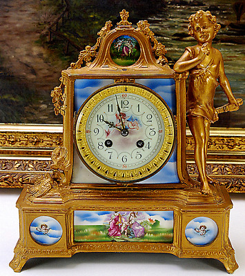 FRENCH ANTIQUE FIGURAL GILDED METAL MANTEL CLOCK c1860 - A.CHAPUS ET FILS