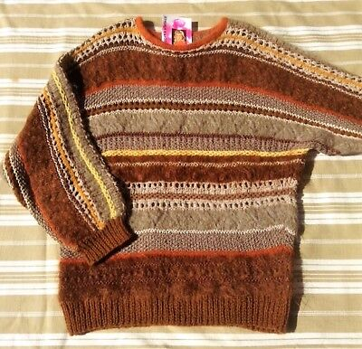 French Women Hand Knitted Wool Sweater Pullover - Lovely Autumn Colours - New -L