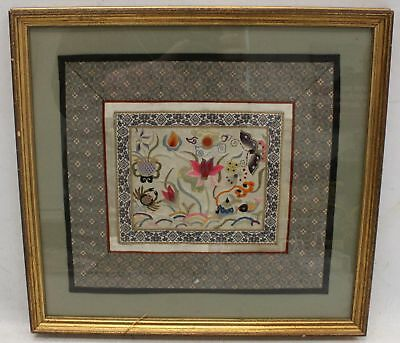 Original High Quality Flowers, Fish & Insects Embroidered Artwork In Frame - D33