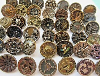 Awesome LARGE Lot of 40+ Antique Victorian Metal BUTTONS Tinted Cut Steels (R5)