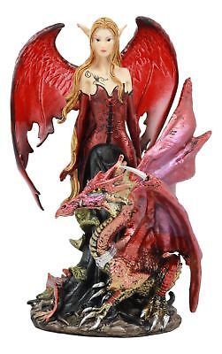 "Red Fairy Dragon Figurine 8""Tall Pixie Fire Fairy With Chained Dragon Statue"