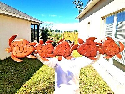 """Gorgeous 38"""" Handcarved Teak Wood """"swimming Turtes"""" Wall Decor-Pointing Left"""