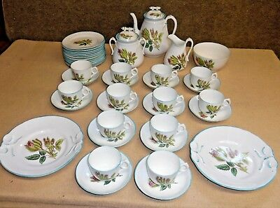 Antique H&Co Haviland? Limoges Coffee Service Luncheon Set - Moss Rose Blue Trim