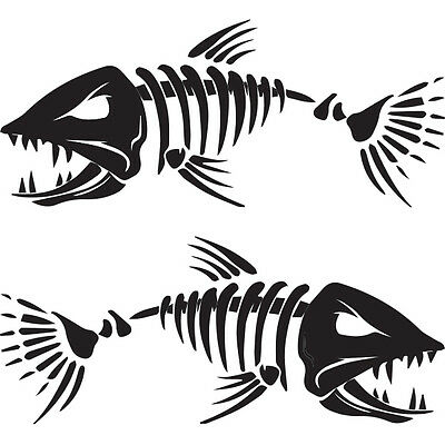 "(2x) 12"" Angry Muskie Skeleton Fishing Muskellunge Bass Tackle Boats Vinyl Decal"