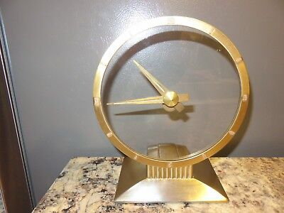 Vintage 24K Gold Jefferson Golden Hour Mystery Clock Model 580-101 Accurate Time