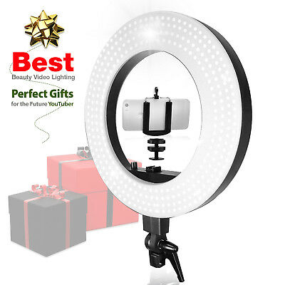 Dimmable Selfie Makeup Ring Light with Gooseneck Table Stand Vlogger YouTuber