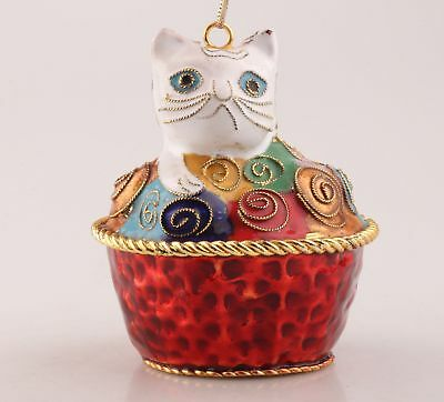 Vintage Chinese Cloisonne Hand Carving Cake Cat Statue Christmas Decoration Gift