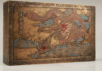 China Old Bronze Hand Carving Painting Dragon Statue Qing Qianlong Storage Box