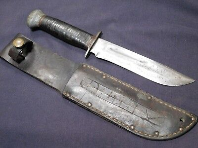 WWII US Fighting Knife Bowie ID'd History Marked Scbd RH-36 PAL USA