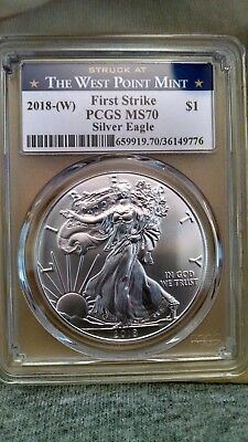 2018(W) 1oz Struck at West Point Silver Eagle PCGS MS70 FS West Point Label