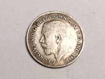 GREAT BRITAIN 1916 Threepence small silver coin nice condition