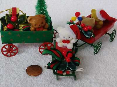 Lot (3) Christmas Flocked Teddy Bears in Wagons & Sled ~George Good Vintage