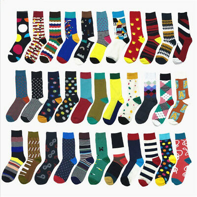Brand Quality Mens Happy Socks 34 Colors Striped Plaid Diamond Cherry Socks