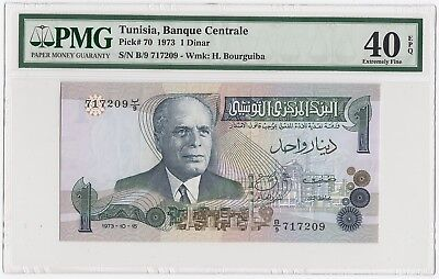 1973 1 Dinar Banque Centrale Tunisia Note Pick # 70 (PMG 40 EPQ Extremely Fine)