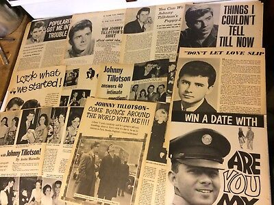 Johnny Tillotson, Lot of TEN Full and Two Page Vintage Clippings