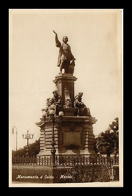 Dr Jim Stamps Columbus Monument Real Photo Postcard Mexico Rppc