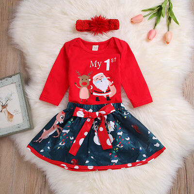Newborn Baby Girl Tops Romper+Skirt Headband My 1st Christmas Clothes Outfit Set